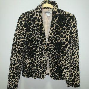 Leopard Blazer with a Rhinestone closure Size:6